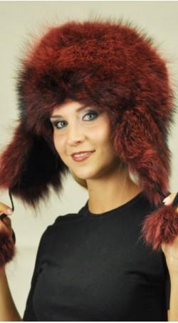 Cappello in marmotta  rosso con copriorecchie