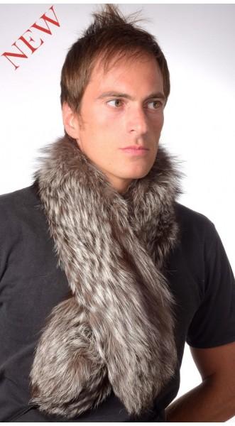 migliore online grande qualità davvero comodo Sciarpa pelliccia di vera volpe argentata per uomo
