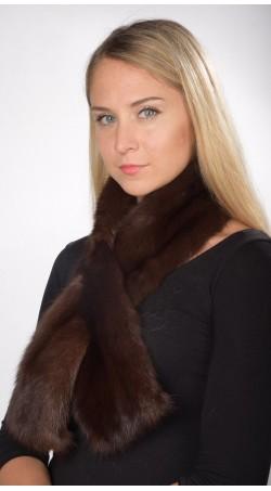 Sciarpa in zibellino marrone scuro per donna