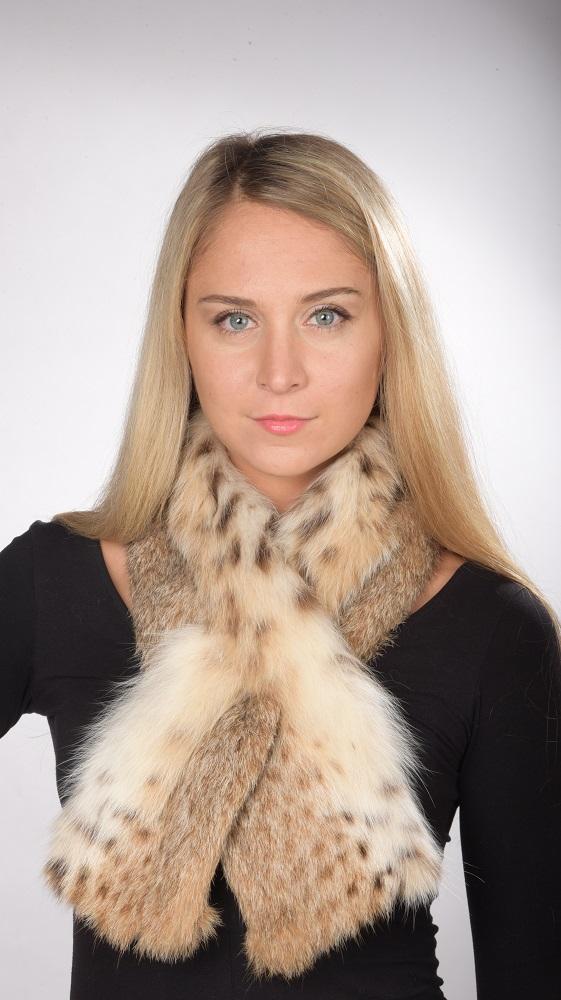 L elegante sciarpa in vera pelliccia di lince per donne alla moda d25e87af4410
